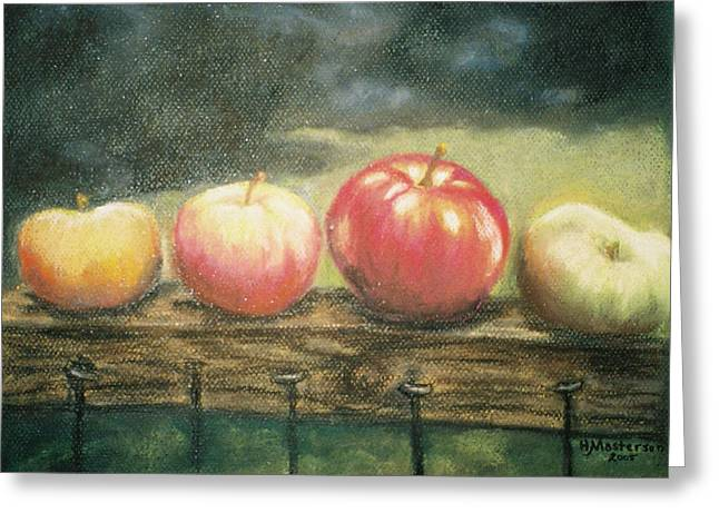 Apple Pastels Greeting Cards - Apples on a Rail Greeting Card by Harriett Masterson