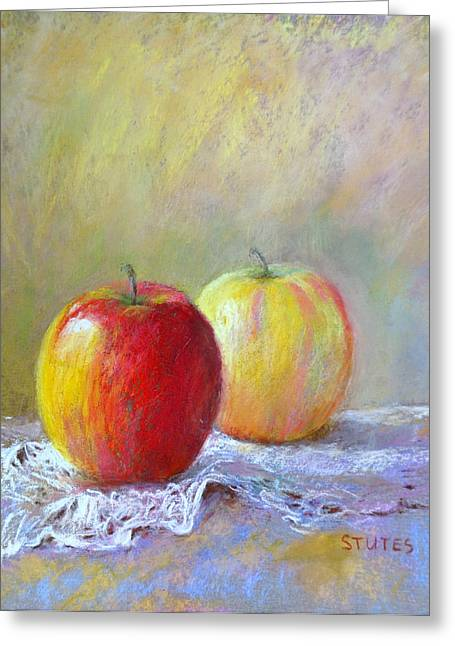 Garden Greeting Cards - Apples On A Table Greeting Card by Nancy Stutes