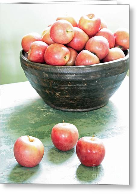 Green Bowl Greeting Cards - Apples on the Table  Greeting Card by Carol Groenen