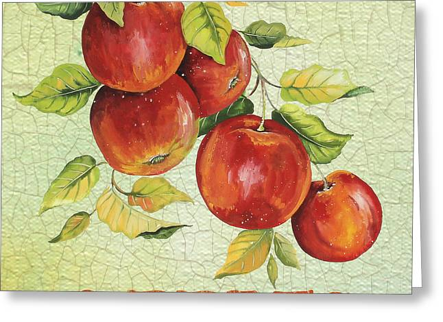 Lemon Art Greeting Cards - Apples on Watercolor Greeting Card by Jean Plout