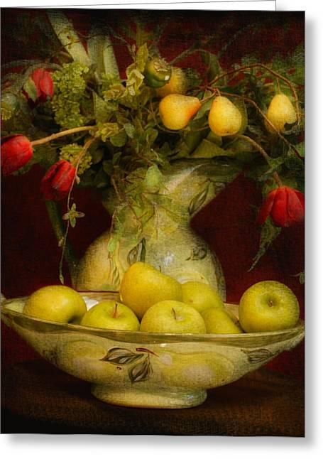 Jeff Burgess Greeting Cards - Apples Pears And Tulips Greeting Card by Jeff Burgess