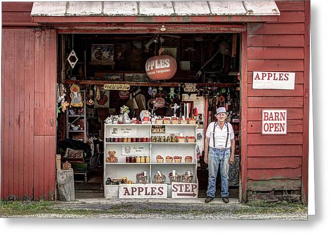 Fascination Greeting Cards - Apples. The Natural Temptation - Farmer and Old Farm Signs Greeting Card by Gary Heller