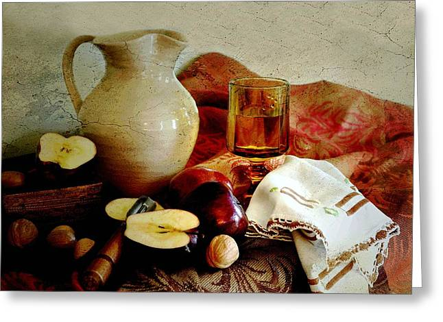 Still Life With Pitcher Greeting Cards - Apples Today Greeting Card by Diana Angstadt