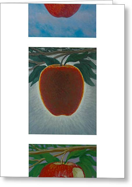 Fruit Tree Art Greeting Cards - Apples Triptych 2 Greeting Card by Don Young