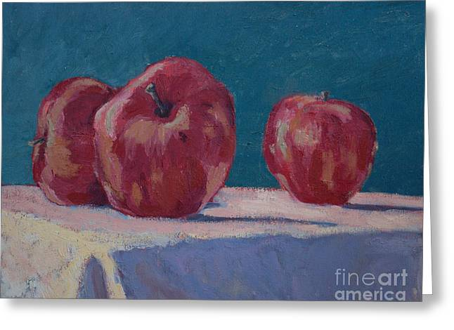 Shadows On Apples Greeting Cards - Apples V Greeting Card by Monica Caballero