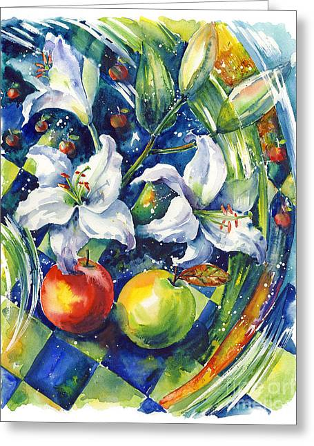 Dance Of Joy Greeting Cards - Apples with lilies Greeting Card by Ira Ivanova