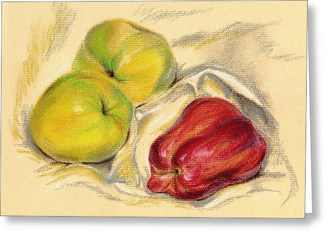 Apple Pastels Greeting Cards - Apples - Yellow and Red Greeting Card by MM Anderson