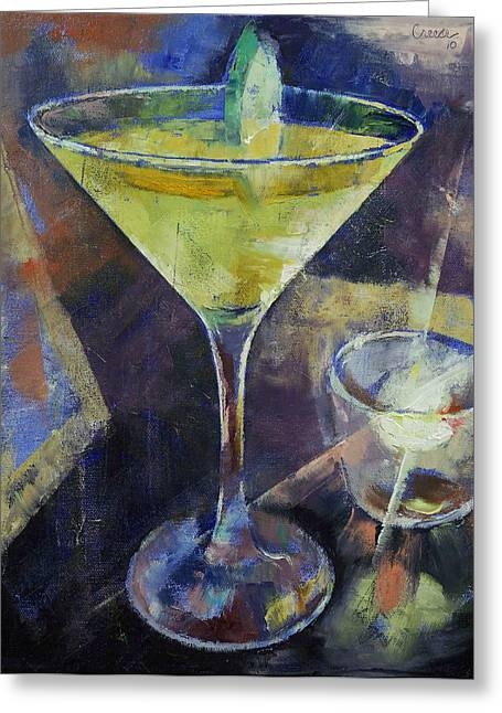 Cosmos Paintings Greeting Cards - Appletini Greeting Card by Michael Creese