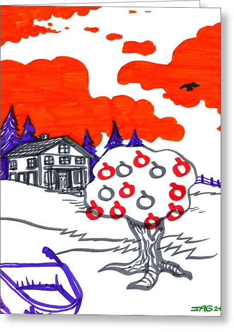 Pine Tree Drawings Greeting Cards - Appletree Psyche-Scape Greeting Card by John Ashton Golden