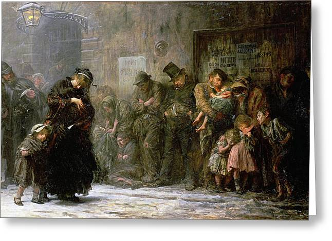 Applicants For Admission To A Casual Greeting Card by Sir Samuel Luke Fildes