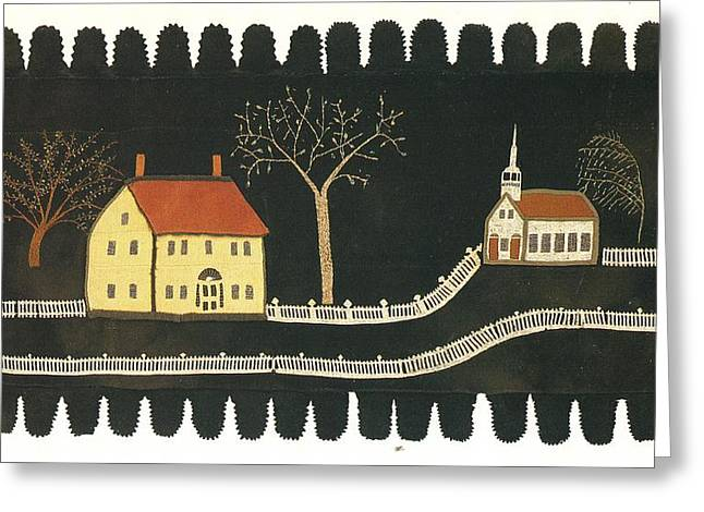 Cities Tapestries - Textiles Greeting Cards - Applique Rug Greeting Card by Artist Unkown
