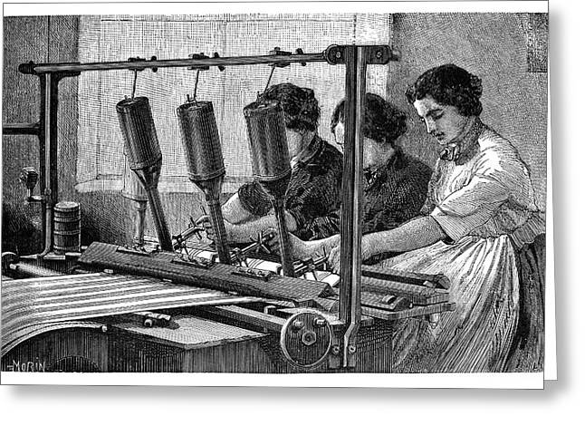 Applying Fabric Patterns Greeting Card by Science Photo Library