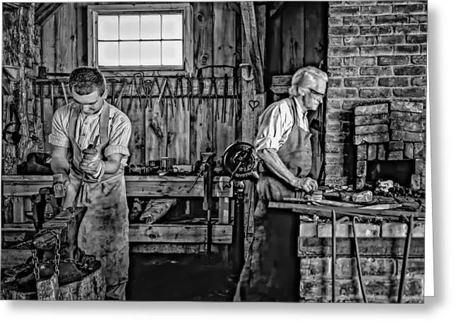 Antique Ironwork Greeting Cards - Apprentice and Master monochrome Greeting Card by Steve Harrington