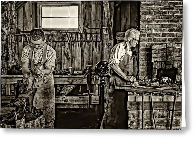 Antique Ironwork Greeting Cards - Apprentice and Master sepia Greeting Card by Steve Harrington