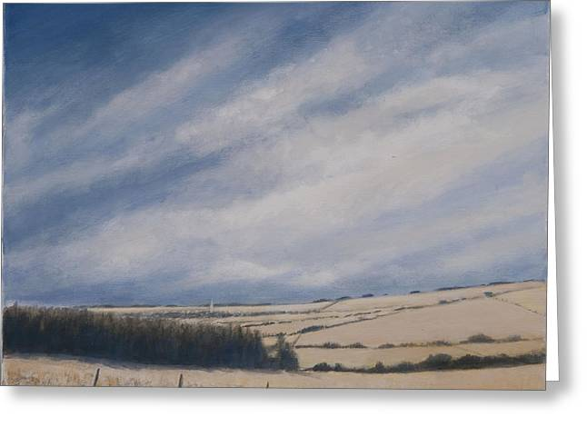 Field. Cloud Greeting Cards - Approaching Burford, 2012 Acrylic On Canvas Greeting Card by Lincoln Seligman