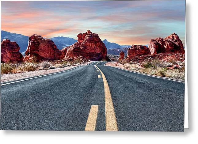 Roadway Greeting Cards - Approaching Fire and Ice Greeting Card by Renee Sullivan