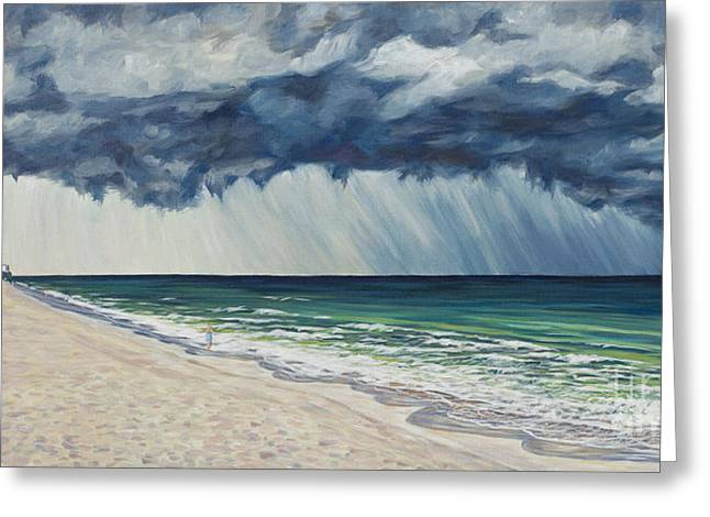 Summer Storm Paintings Greeting Cards - Approaching Gail Greeting Card by Danielle  Perry