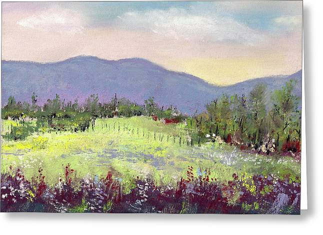 Fence Pastels Greeting Cards - Approaching Home Greeting Card by David Patterson