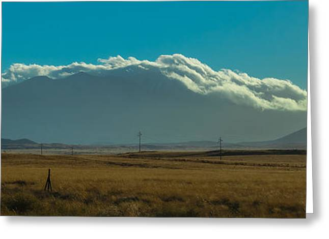 Us Open Photographs Greeting Cards - Grassland Approaching Humphreys Peak Greeting Card by Ed Gleichman