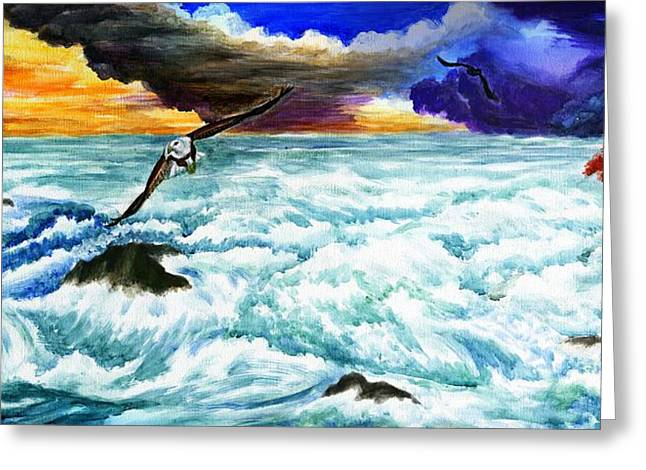 Turbulent Skies Greeting Cards - Approaching of Judgment Day  Greeting Card by Zong Yi