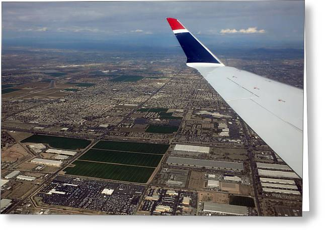 Airoplane Greeting Cards - Approaching Phoenix AZ Wing Tip View Greeting Card by Thomas Woolworth