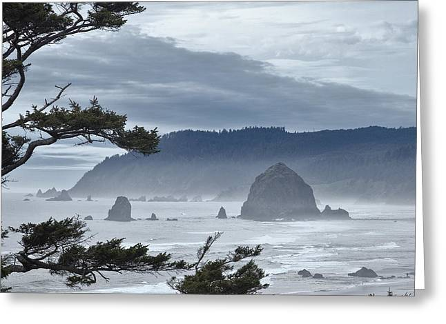 Cannon Beach Greeting Cards - Approaching Storm Greeting Card by Andrew Soundarajan