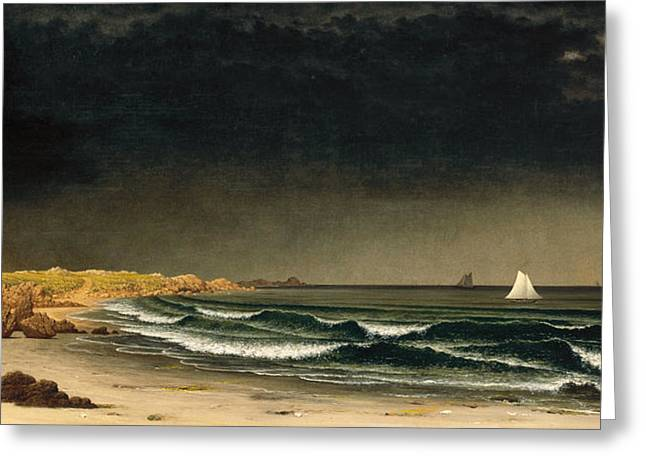 Approaching Storm Greeting Cards - Approaching Storm. Beach near Newport Greeting Card by Martin Johnson Heade