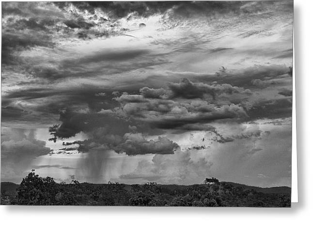 Approaching Storm Greeting Cards - Approaching Storm Black and White Greeting Card by Douglas Barnard