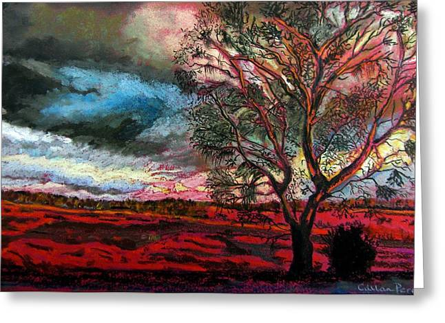 Surreal Landscape Pastels Greeting Cards - Approaching Storm Greeting Card by Callan Percy