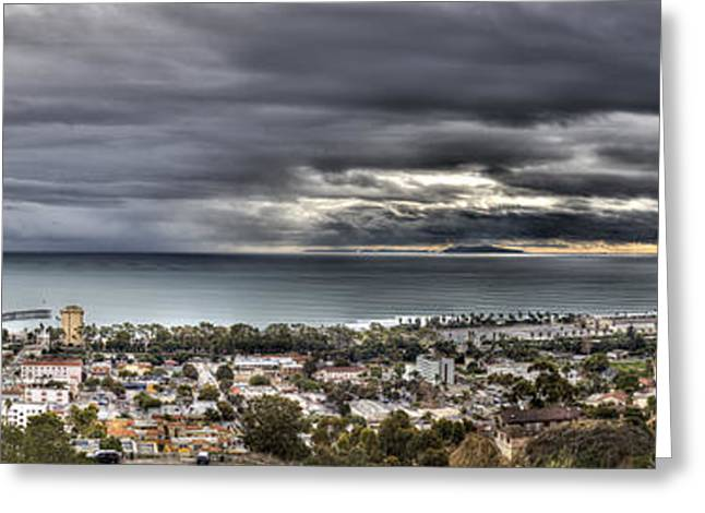 Ventura Pier Greeting Cards - Approaching Storm HDR Panorama  Greeting Card by Joe  Palermo