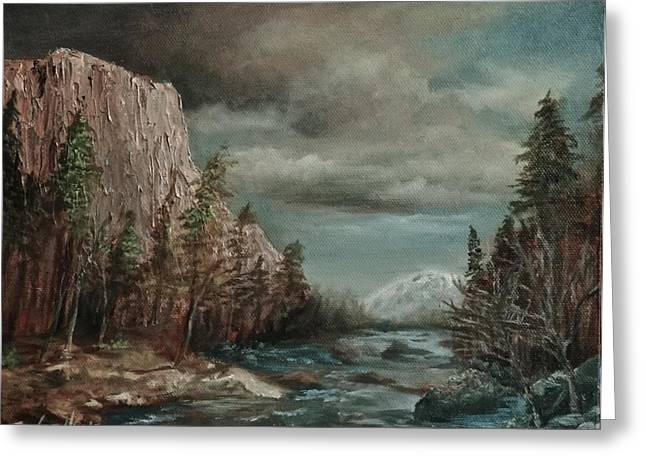 El Capitan Paintings Greeting Cards - Approaching Storm Greeting Card by Liz Hume
