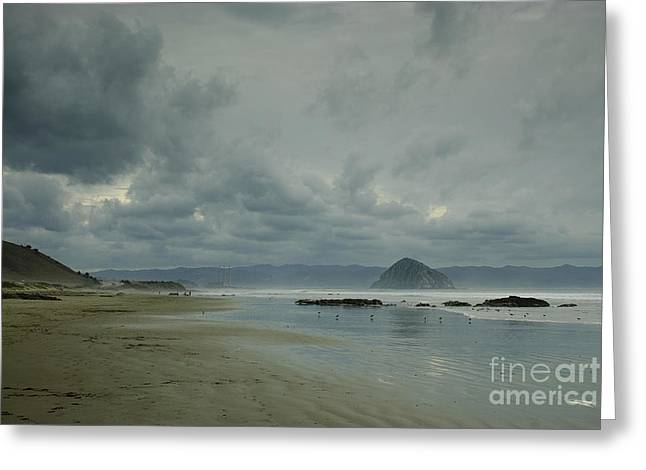 Terry Garvin Greeting Cards - Approaching Storm - Morro Rock Greeting Card by Terry Garvin