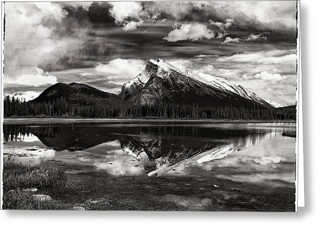 Western Canada Landscape Art Greeting Cards - Approaching Storm Mt Rundle Greeting Card by Hal Norman K