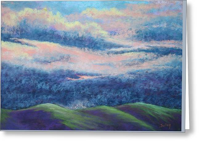 Storm Clouds Pastels Greeting Cards - Approaching Storm Greeting Card by Nancy Jolley