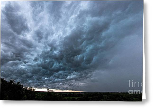 Forboding Greeting Cards - Approaching Storm over Belton-Sunset Greeting Card by Gary Holmes