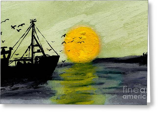 Masts Mixed Media Greeting Cards - Approaching the Inlet Greeting Card by R Kyllo