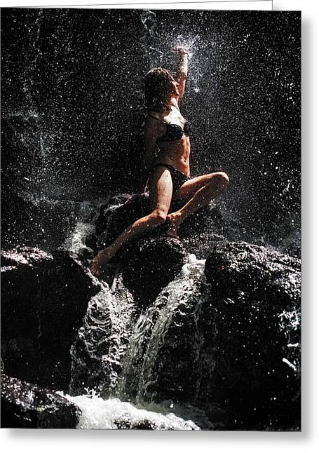 Double Rainbow Greeting Cards - Approaching the Light. Anna at Eureka Waterfalls. Mauritius Greeting Card by Jenny Rainbow