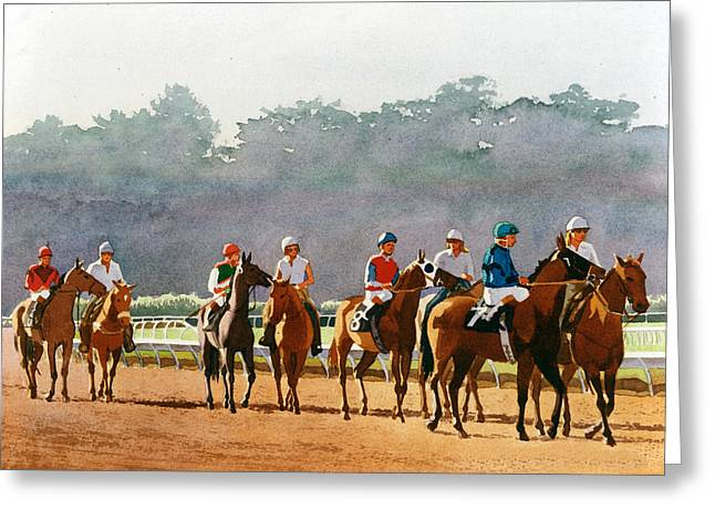 Race Horse Greeting Cards - Approaching the Starting Gate Greeting Card by Mary Helmreich