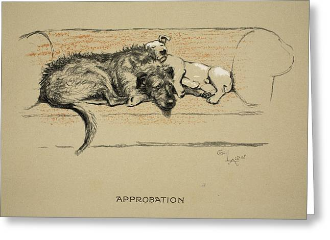 Terrier Dog Drawings Greeting Cards - Approbation, 1930, 1st Edition Greeting Card by Cecil Charles Windsor Aldin