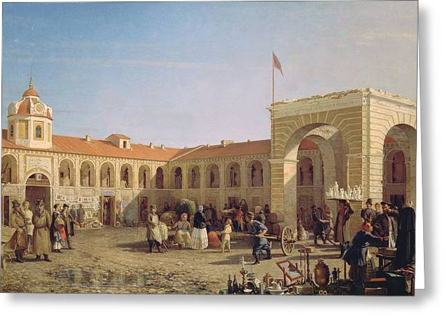 Market Square Greeting Cards - Apraksin Market In St. Petersburg, 1862 Oil On Canvas Greeting Card by Pyotr Petrovich Vereshchagin