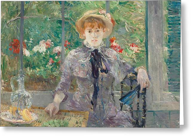 Morisot Reproductions Greeting Cards - Apres le Dejeuner Greeting Card by Berthe Morisot
