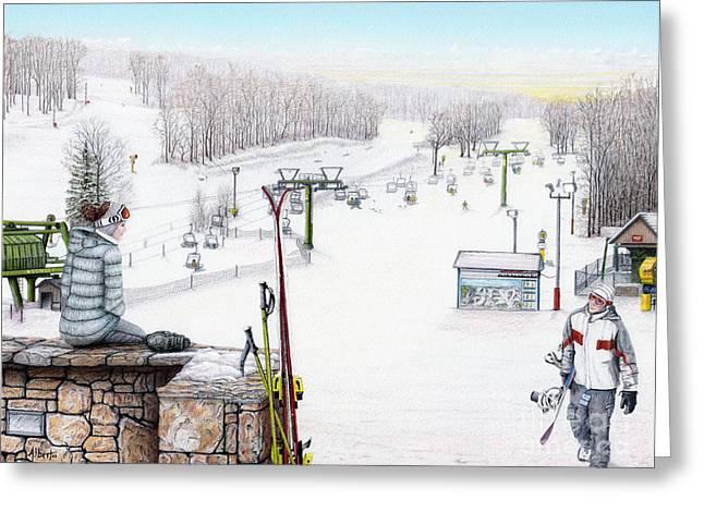 Apres-Ski at Hidden Valley Greeting Card by Albert Puskaric