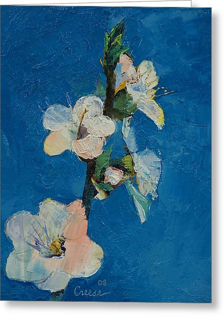 Apricots Paintings Greeting Cards - Apricot Blossom Greeting Card by Michael Creese