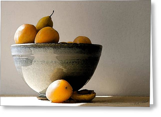 Apricot Drawings Greeting Cards - Apricot Bowl  Greeting Card by Cole Black