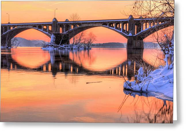 Wrightsville Greeting Cards - Apricot Susquehanna  Greeting Card by JC Findley