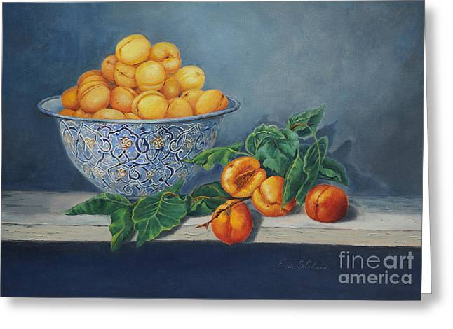 Apricots And Peaches Greeting Card by Enzie Shahmiri
