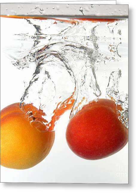 Apricot Greeting Cards - Apricots fruits underwater Greeting Card by Sami Sarkis