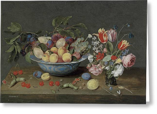Apricots plums and grapes in a bowl Greeting Card by Jacob Van Hulsdonck