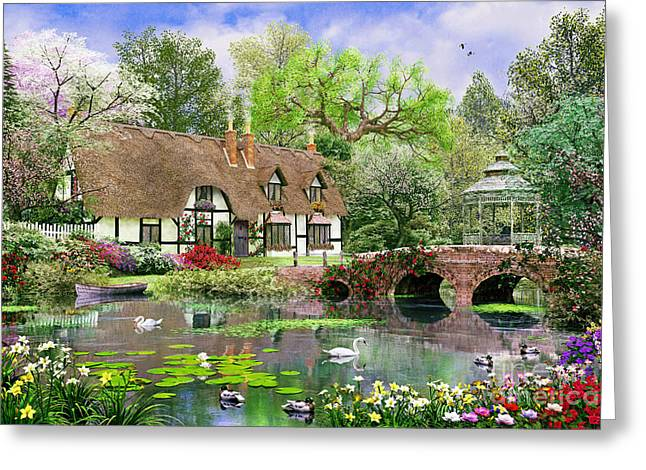 Coloured Greeting Cards - April Cottage Greeting Card by Dominic Davison