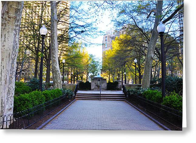 Rittenhouse Square Greeting Cards - April in Rittenhouse Square Greeting Card by Bill Cannon